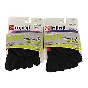 Injinji Women's Run Lightweight Ultra Thin Cushioning No Show Toesocks Bundle...