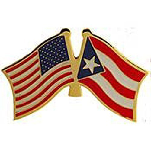 Metal Lapel Pin - American and World National Flag Crossed - Puerto Rico ()