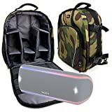 DURAGADGET Camouflage Water-Resistant Backpack with Customizable Interior & Raincover for the Sony SRS-XB30 | Sony SRS-XB21 | Sony SRS-XB31 | Sony SRS-XB41