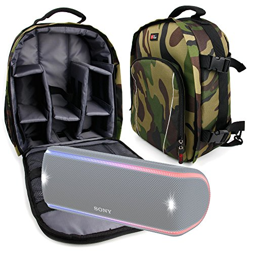 DURAGADGET Camouflage Water-Resistant Backpack with Customizable Interior & Raincover for the Sony SRS-XB30 | Sony SRS-XB21 | Sony SRS-XB31 | Sony SRS-XB41 by DURAGADGET