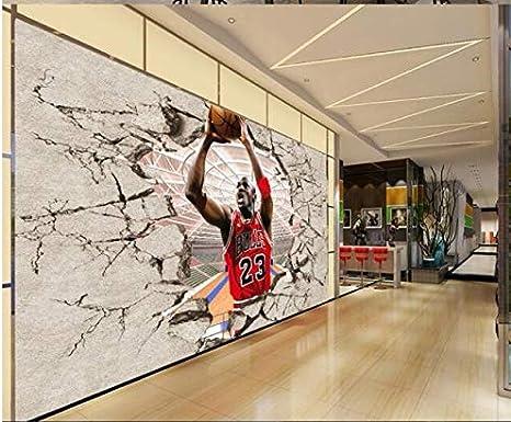 GERPAOL Fond D/Écran Impression sur Toilepapier Peint Intiss/ébacaz 8D Modern Photo Wall Sticker for Lliving Room Wallpaper 3D Student Hostel NBA Basketball Sports Jordan Mural Paper Decor,150 105Cm
