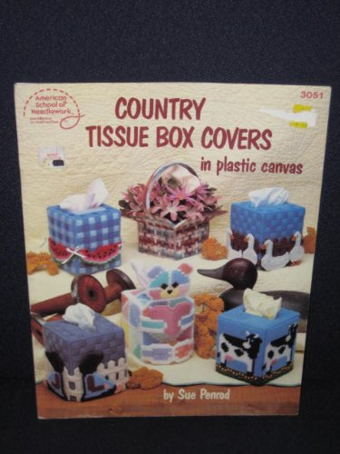 Country Tissue Box Covers in Plastic Canvas - American School of Needlework - #3051 - By Sue Penrod - Country Tissue Boxes