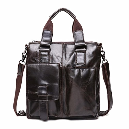 Naladoo Black Friday Men's Cowhide Business Briefcase Laptop Sparkle Handbag - Friday Black Sale Burberry