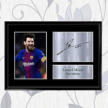 Foto firmada por Lionel Messi con autógrafo de Barcelona en las paredes interiores – gran idea de regalo A2, A3, A4 y A5, A4 (297 x 210 mm): Amazon.es: Hogar