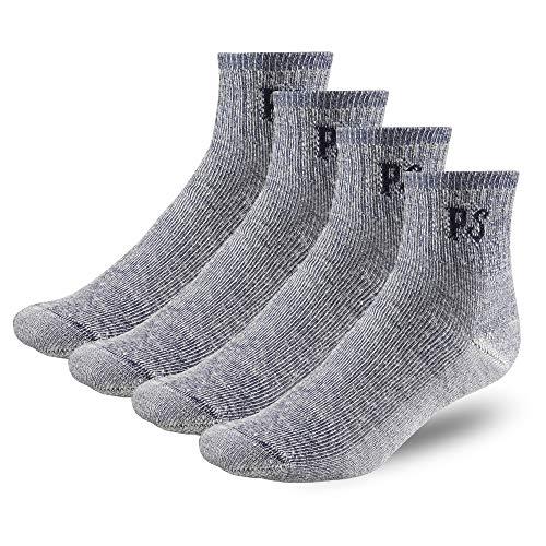 227-QTR-NAVY-4Pairs Mens Womens Thick Unisex Wool Socks.