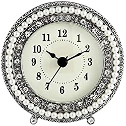 Dahlia Studios Freya 4 1/2 Round Silver Table Clock