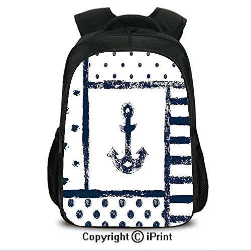 "16"" Casual Laptop Backpack Bookbags,Grunge Murk Boat Anchor Silhouette with Polka and Stripe Retro Patterns Navy Theme CollegeTravel Computer Notebooks Backpack for Teen Men Women Dark Blue White"