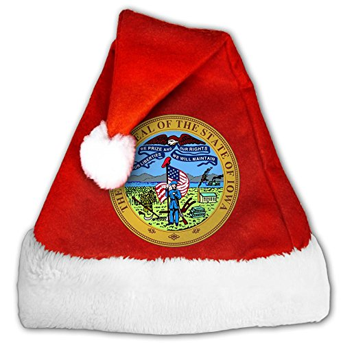 Christmas Hat Or Nice Festive Holiday Hat Velvet Santa Hat With Iowa Emblem