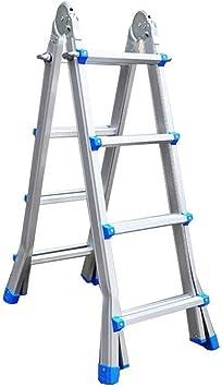 Escalera de aluminio escalera de extensión multiuso con capacidad de carga de 300 libras antideslizantes Patas de goma: Amazon.es: Bricolaje y herramientas