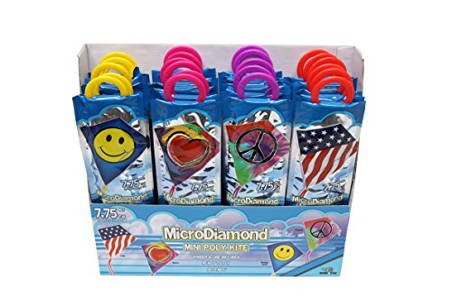 "X-Kites MicroDiamond Party Pack Assortment of Poly Nylon Kites, 7.75"", 24-Piece PDQ"
