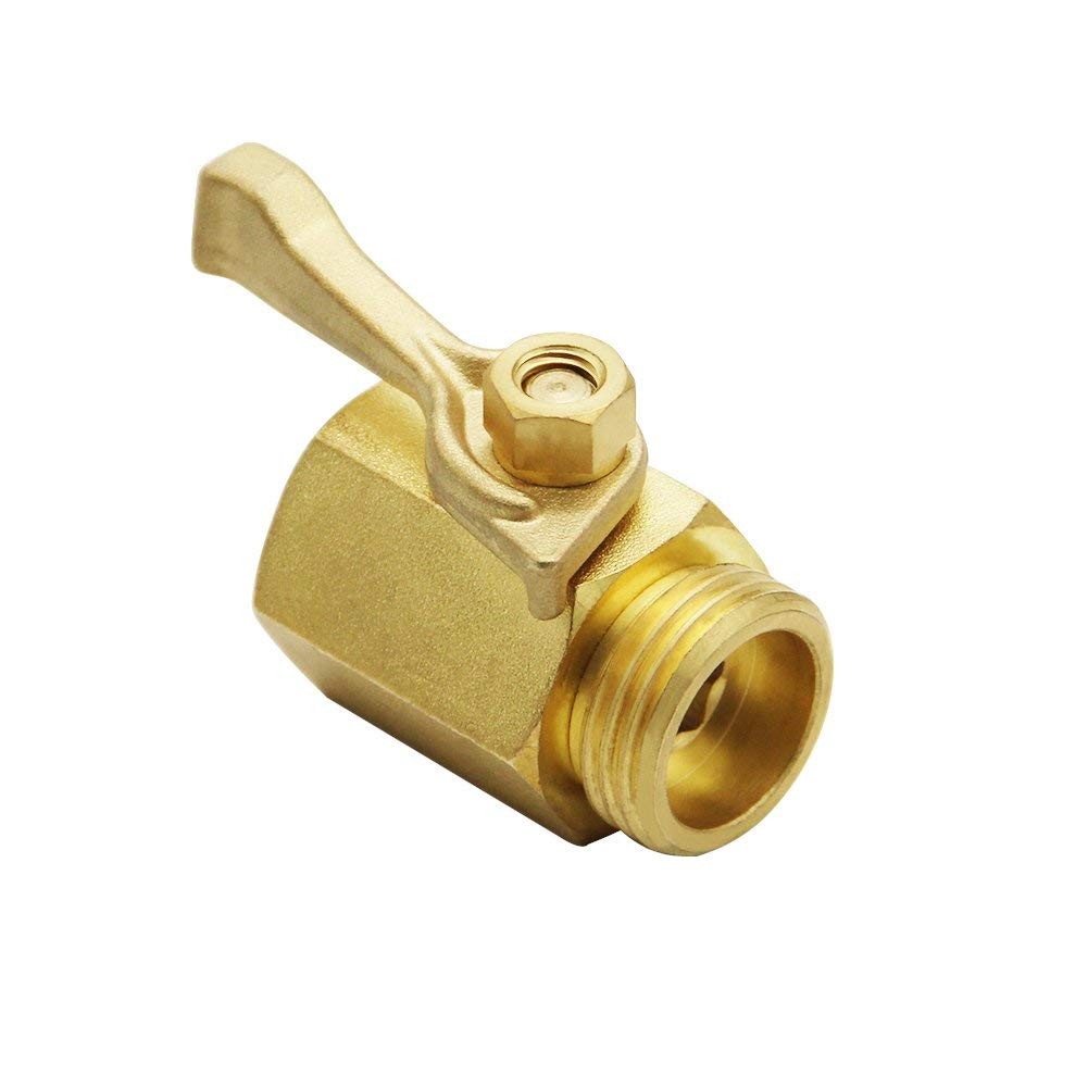TTKLE Super Heavy Duty 3/4 Inch Brass Shut Off Valve Garden Hose Connector