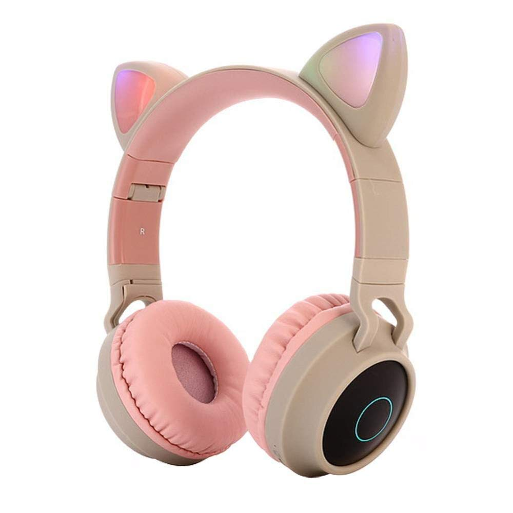 OUYAWEI Cute Cat Ear Bluetooth 5.0 Headphones Foldable On-Ear Stereo Wireless Headset with Mic LED Light Support FM Radio/TF Card/Aux in for Smartphones PC Tablet Pink Gray