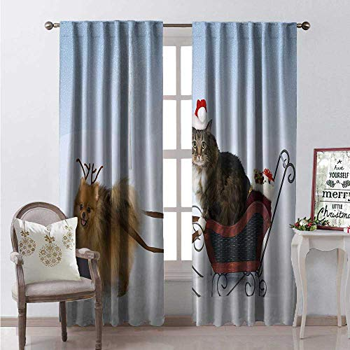 Hengshu Pomeranian Thermal Insulating Blackout Curtain Dog Wearing Antlers Pulls a Sleigh Ornate Boxes Driven Cat in Santa Hat Blackout Draperies for Bedroom W96 x L84 Multicolor