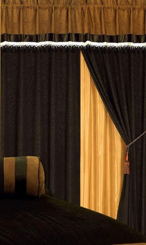 Grand Linen 3-Layer Modern Chocolate Brown Micro Suede Curtain Set with Attached valances and Sheer Backing 120 X 84 Inches
