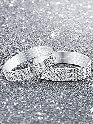 Yaomiao 5 Pieces Rhinestone Stretch Bracelet Anklet Crystal Bracelet Sliver Tennis Bracelet Wedding Jewelry for Women