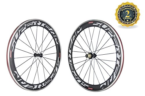 (Superteam Road Bike 700C 60mm Carbon Alloy Braking Clincher Wheelset 23mm Width)