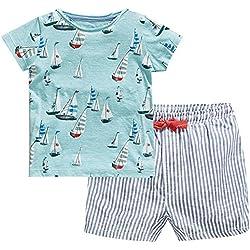 Fiream Little Boys' Summer Cotton Shortsleeve Clothing Sets(20106TZ,3T)