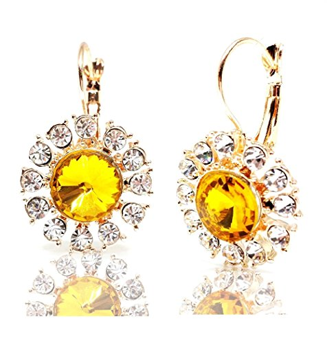 Bright Light Weight Bubble Round Yellow Crystal Flower Earrings Gold Tone