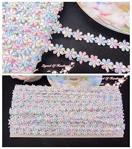 FidgetFidget LOT~15Y Floral Colored Venise Daisy Lace Trim~Blue+Pink+Yellow+White~Sweet - Venise Daisy