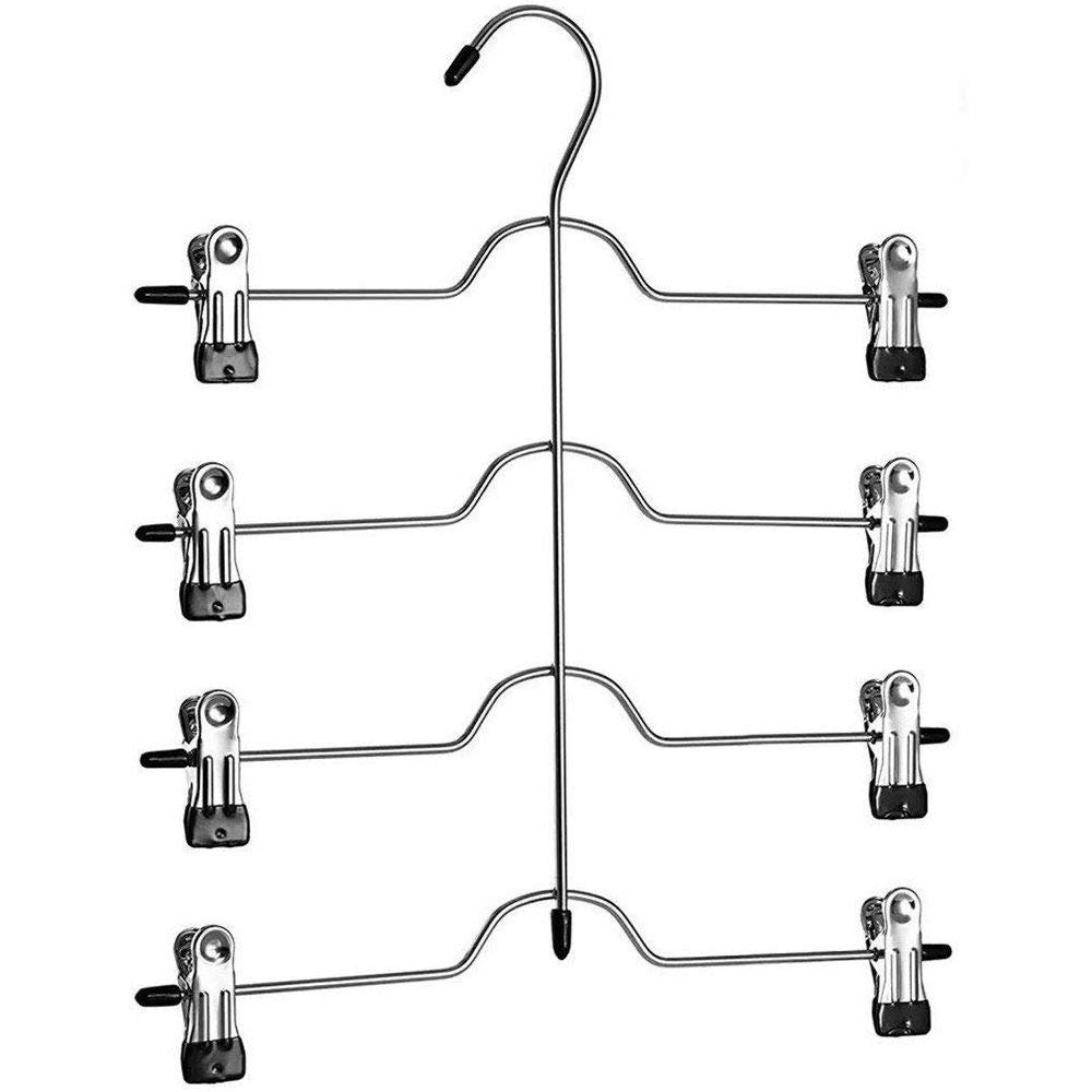 Richards Homewares Black 8 Clips Slack Rack 4 Tier Trouser/Skirt Chrome & Black Vinyl Hanger (3-Pack)