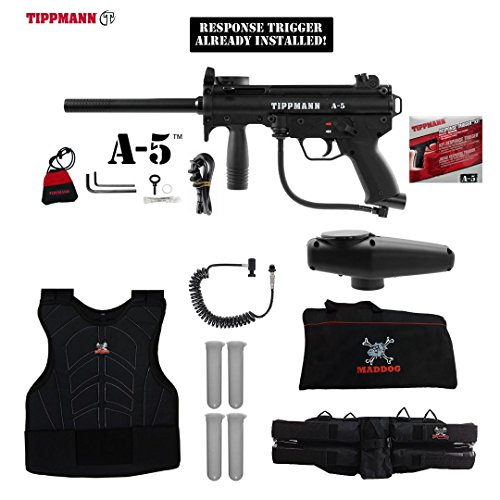 MAddog Tippmann A-5 w/Response Trigger Sergeant Paintball Gun Package - (Response Trigger System)