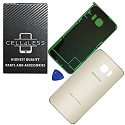 Cell4less Replacement Back Glass Cover Back Battery Door Wpre-installed Adhesive Samsung Galaxy S6 Edge+ Plus Oem - All Models G928 All Carriers- 2 Logo - Oem Replacement (Gold)