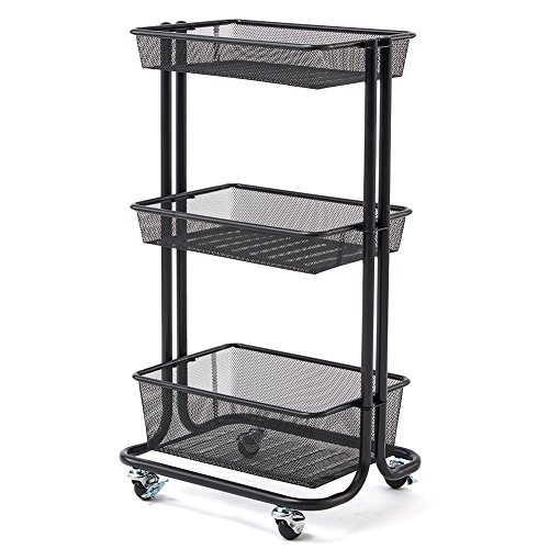 EZOWare 3-Tier Storage Organizer Standing Shelf, Multifunction Metal Mesh Wire Basket Rolling Utility Organization Cart Trolley For Bathroom, Kitchen, Office, Salon & Spa - (Black Food Transport Cart)