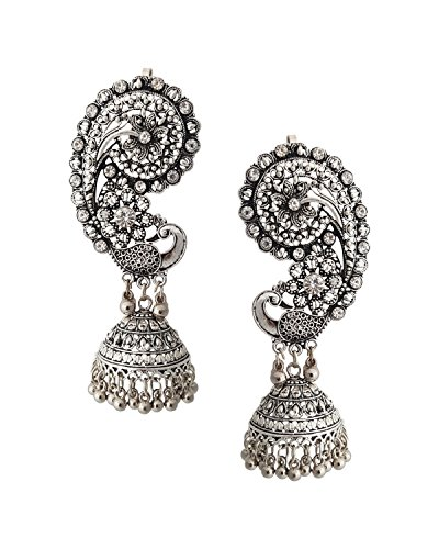 Young & Forever Tribal Muse Collection Splendid Brass Jaipur Jewels Rajasthani Gypsy Earrings For Women By CrazeeMania E371 by Young & Forever