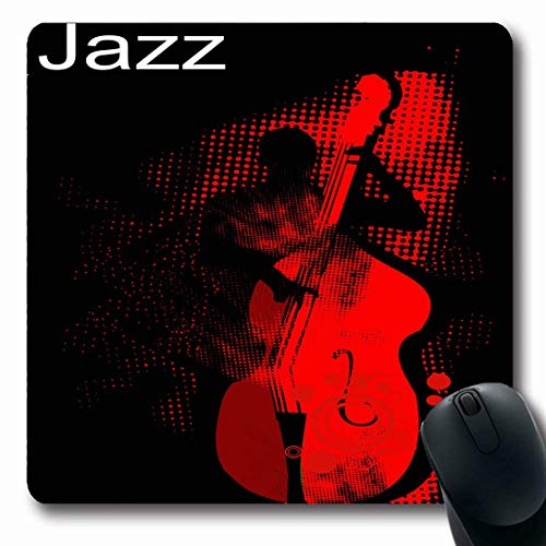 Mousepads for Computers Musician Music Jazz Bass Player Performancehalftone Pattern Band Texturevector Rockabilly Live Non-Slip Oblong Gaming Mouse Pad