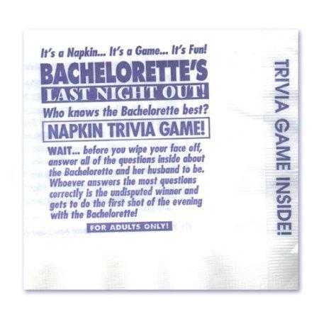 Bachelorette Napkin Trivia Game (25) ( 4 Pack ) by Sh-yolada