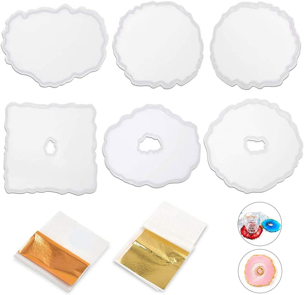 Surmounty Resin Coaster Molds Resin Casting 6 Pack Silicone Coaster Molds with Gold Foil Flakes for Resin Coasters