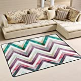 Naanle Vintage Retro Geometric Zig Zag Lines Area Rug 4'x6', Watercolor Stripe Polyester Area Rug Mat for Living Dining Dorm Room Bedroom Home Decorative