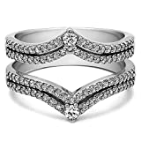 TwoBirch 0.53 ct. Cubic Zirconia Double Row Chevron Style Anniversary Ring Guard in Sterling Silver (1/2 ct. twt.)