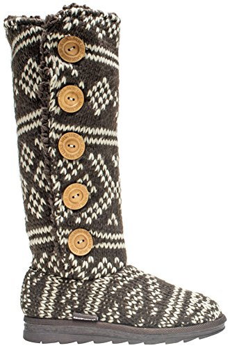 Muk Luks Womens Malena Fairisle Sweater Winter Boot Brown