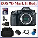 Canon EOS 7D Mark II DSLR Camera (Body Only) Bundle, Includes: 32GB SDHC Class 10 Memory Card, Card Reader, Camera Bag, Spare Battery, Mini HDMI Cable, Lens Cleaning Kit and Memory Card Wallet