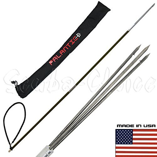 (Scuba Choice Carbon Fiber 5' Travel Spearfishing Two-Piece Pole Spear 3 Prong Barb Paralyzer and Bag)