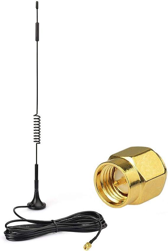 Eightwood 868mhz Antena 7dbi Adaptador SMA Repetidor de señal con RG174 cable 3m for antena inalámbrica Homematic CCU2 CC1101 Netgear Sistema Fibaro ...