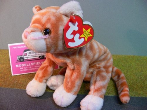 (TY Beanie Baby - AMBER the Gold Tabby Cat)