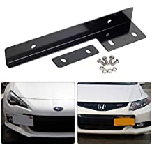 MPH Production Premium Quality Black Aluminum Metal Universal Fit Front Bumper License Plate Relocate Relocator Bracket Holder Bar