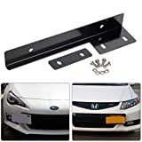 crossfire plate bracket - MPH Production Premium Quality Black Aluminum Metal Universal Fit Front Bumper License Plate Relocate Relocator Bracket Holder Bar