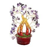 Bonsai Gemstone Tree of Happiness with Amethyst Gemstones - 29126.