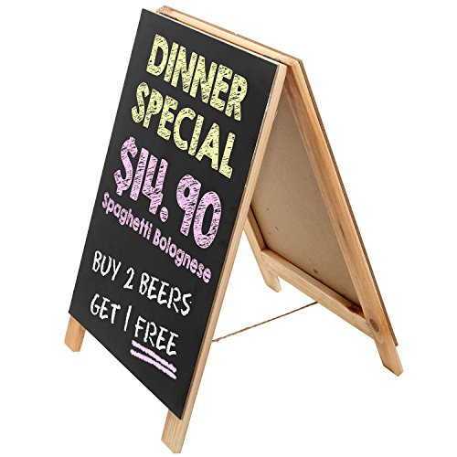 Natural Finish 16-Inch Wood A-Frame Erasable Chalkboard Menu Sign / Tabletop Board / Wedding Signage ()