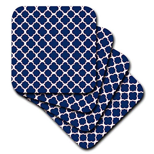 3dRose CST_165919_3 Quatrefoil Pattern Navy Blue & White with Red Accent Ceramic Tile Coasters, (Set of 4)