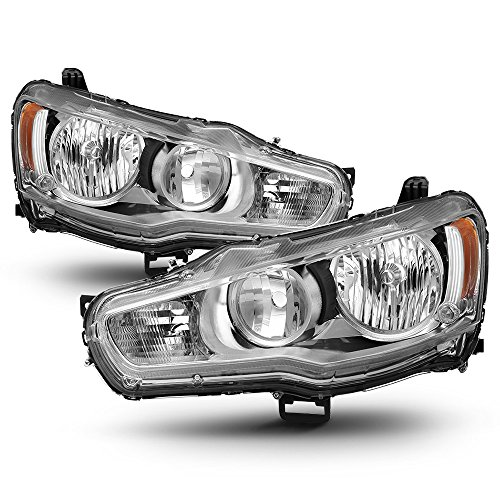 ACANII - For 2008-2017 Mitsubishi Lancer EVO X Headlights Headlamps w/Chrome Bezel Driver + Passenger ()