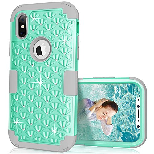iPhone X Case, VPR iPhone X Bling Case [Hard PC+ Soft Silicone] Heavy Duty 3 in 1 Diamond Studded Hybrid Shockproof Case Full-Body Protective Defender Cover for Apple iPhone X (2017) (Mint+Grey)