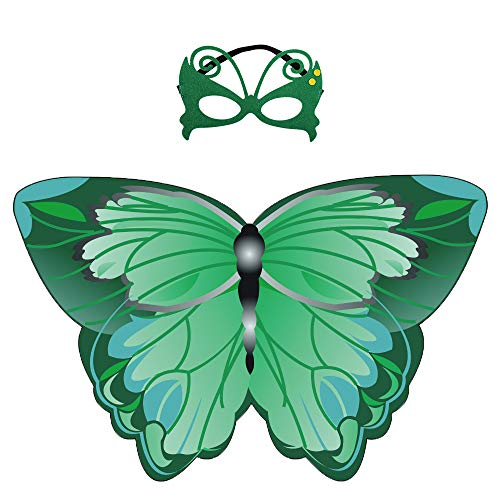 (Kids Fairy Butterfly Wings Costume and Mask for Toddler Girls Dress up Pretend Play Birthday Party Favor (#03 Green Butterfly Wings with Masks))