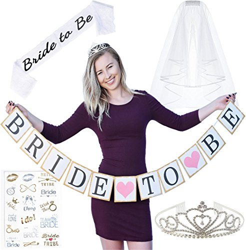 Bachelorette Party Decorations Kit- Tiara, Sash, Veil, Bride to Be Banner, Flash Tattoos by Snazz E Party (Bachelorette Tiara And Sash)