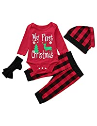 AMSKY Infant Baby Kids Xmas Clothes Set,Toddler Baby Boy Girl Deer Print Long Sleeve Shirt + Pants+Headband Outfit Clothes