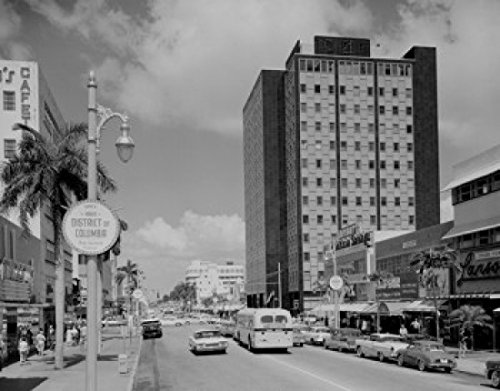USA Florida Miami Beach Lincoln Road main shopping street with Federal Building Poster Print (24 x - Beach Shopping Miami Lincoln Road