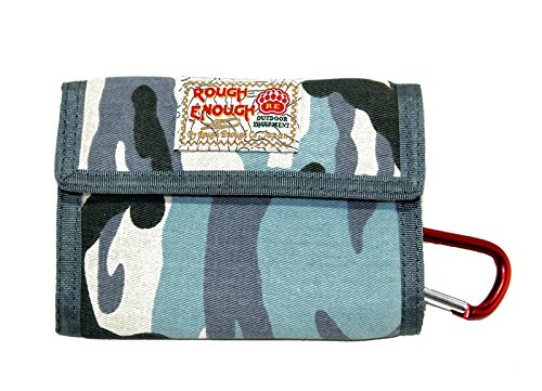 Rough Enough Minimalist Front Pocket Travel Bifold Canvas Credit Card Wallet Portable Coin Holder Pouch Organizer Case with Zipper for Boys Girls Mens Women School Outdoor Sport